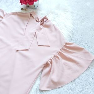 2/$15 Suzy Shier Tye Neck Bell Sleeve Blouse Top